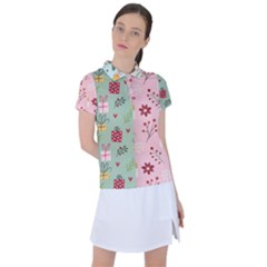 Flat Christmas Pattern Collection Women s Polo Tee