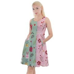 Flat Christmas Pattern Collection Knee Length Skater Dress With Pockets