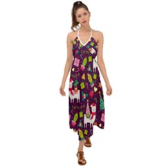 Colorful Funny Christmas Pattern Halter Tie Back Dress