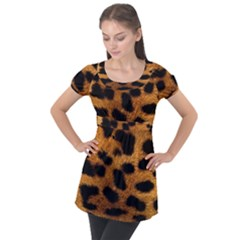 Leopard Skin Pattern Background Puff Sleeve Tunic Top