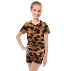 Leopard Skin Pattern Background Kids  Mesh Tee And Shorts Set