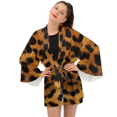 Leopard Skin Pattern Background Long Sleeve Kimono