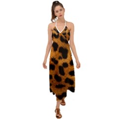 Leopard Skin Pattern Background Halter Tie Back Dress