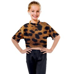 Leopard Skin Pattern Background Kids Mock Neck Tee