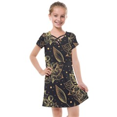 Christmas Pattern With Vintage Flowers Kids  Cross Web Dress