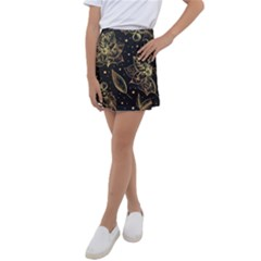 Christmas Pattern With Vintage Flowers Kids  Tennis Skirt