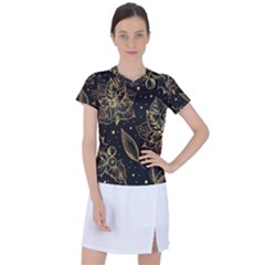 Christmas Pattern With Vintage Flowers Women s Sports Top