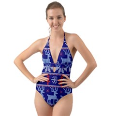 Knitted Christmas Pattern Halter Cut Out One Piece Swimsuit