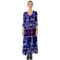 Knitted Christmas Pattern Button Up Boho Maxi Dress
