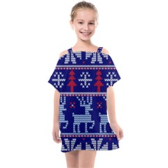 Knitted Christmas Pattern Kids  One Piece Chiffon Dress