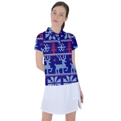Knitted Christmas Pattern Women s Polo Tee
