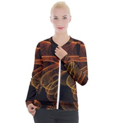 Circle Fractals Pattern Casual Zip Up Jacket