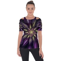 Fractal Flower Floral Abstract Shoulder Cut Out Short Sleeve Top