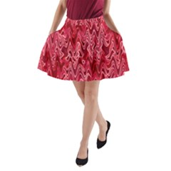 Background Abstract Surface Red A Line Pocket Skirt