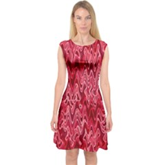 Background Abstract Surface Red Capsleeve Midi Dress