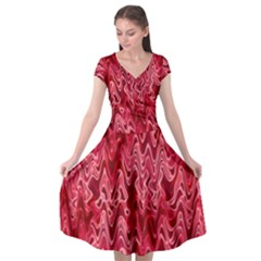 Background Abstract Surface Red Cap Sleeve Wrap Front Dress