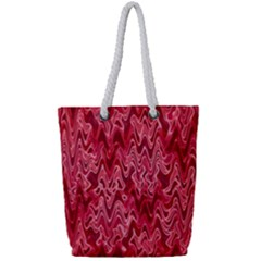 Background Abstract Surface Red Full Print Rope Handle Tote (small)