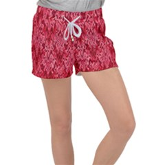 Background Abstract Surface Red Women s Velour Lounge Shorts