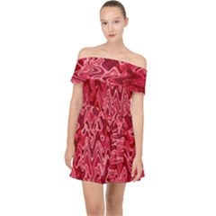 Background Abstract Surface Red Off Shoulder Chiffon Dress