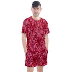 Background Abstract Surface Red Men s Mesh Tee And Shorts Set