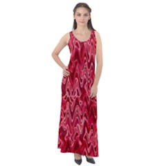 Background Abstract Surface Red Sleeveless Velour Maxi Dress