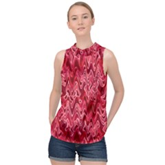 Background Abstract Surface Red High Neck Satin Top