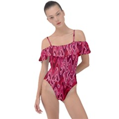 Background Abstract Surface Red Frill Detail One Piece Swimsuit