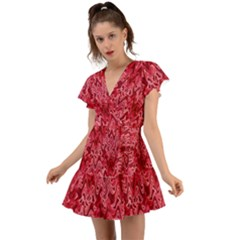 Background Abstract Surface Red Flutter Sleeve Wrap Dress