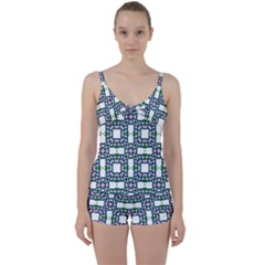 Illustrations Texture Modern Tie Front Two Piece Tankini