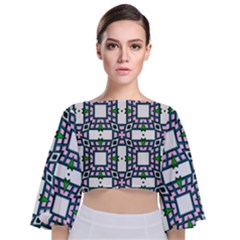 Illustrations Texture Modern Tie Back Butterfly Sleeve Chiffon Top