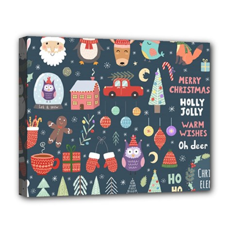 Vector Set Cute Christmas Elements Santa Penguin Deer Bear Fox Owl Trees Snowman Bird Angel More Deluxe Canvas 20  X 16  (stretched)