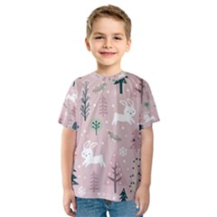 Winter Season Seamless Pattern Decoration Kids  Sport Mesh Tee