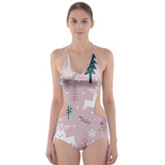 Winter Season Seamless Pattern Decoration Cut Out One Piece Swimsuit