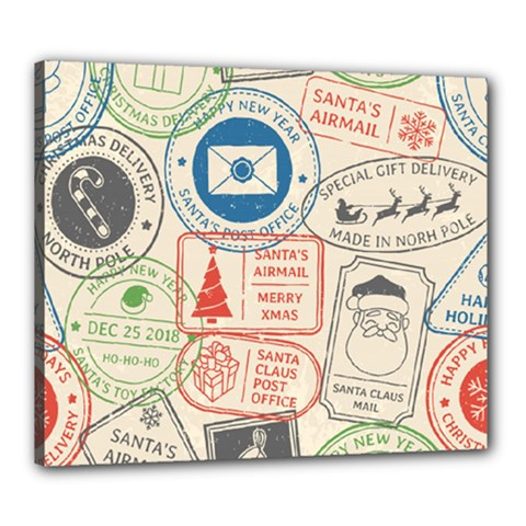 Christmas Postal Pattern Canvas 24  X 20  (stretched)