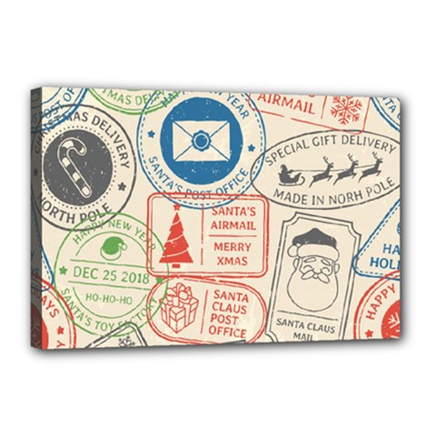 Christmas Postal Pattern Canvas 18  X 12  (stretched)