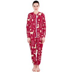 Christmas Pattern Background Onepiece Jumpsuit (ladies)