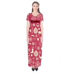 Christmas Pattern Background Short Sleeve Maxi Dress
