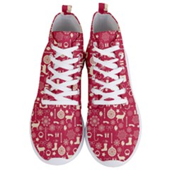 Christmas Pattern Background Men s Lightweight High Top Sneakers