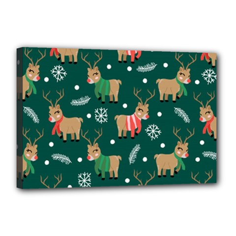 Cute Christmas Pattern Doodl Canvas 18  X 12  (stretched)