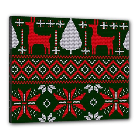 Christmas Pattern Knitted Design Canvas 24  X 20  (stretched)