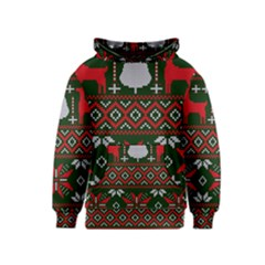 Christmas Pattern Knitted Design Kids  Pullover Hoodie