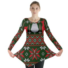 Christmas Pattern Knitted Design Long Sleeve Tunic