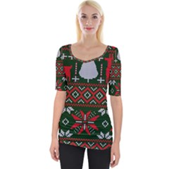 Christmas Pattern Knitted Design Wide Neckline Tee