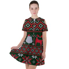 Christmas Pattern Knitted Design Short Sleeve Shoulder Cut Out Dress