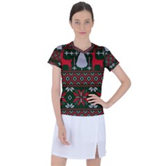 Christmas Pattern Knitted Design Women s Sports Top