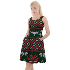 Christmas Pattern Knitted Design Knee Length Skater Dress With Pockets
