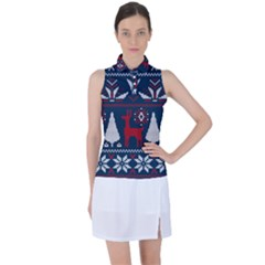 Knitted Christmas Pattern Women s Sleeveless Polo Tee