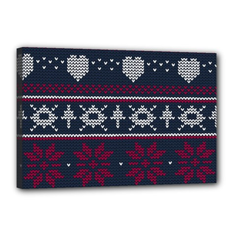 Beautiful Knitted Christmas Pattern Canvas 18  X 12  (stretched)