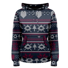 Beautiful Knitted Christmas Pattern Women s Pullover Hoodie