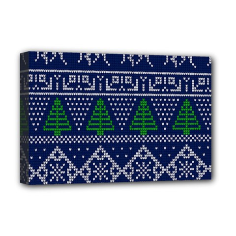 Beautiful Knitted Christmas Pattern Blur Green Deluxe Canvas 18  X 12  (stretched) by Vaneshart